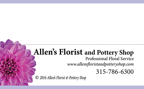 Allen's Florist and Pottery Shop Gift Pillow Tag